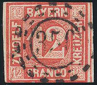 BAYERN, MiNr. 6, sauber gestempelt, Kurzbefund Sem, Mi. 180,-