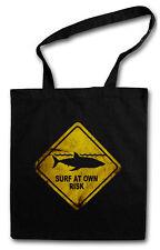 Shark warning sign bolsa de compras wei? él tiburón Surfer surfing diver submarinista playa
