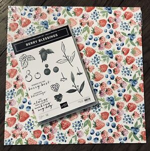 "Stampin Up BERRY BLESSINGS Stamps & BERRY DELIGHTFUL 12""x12"" DSP Sale-A-Bration"