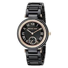 New MICHAEL KORS MK6242 Mini SKYLAR Rose Gold Black Ceramic Women's Watch 34MM
