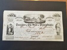 1853 Treasurer of The State Of Pennsylvania Check Certificate Stock
