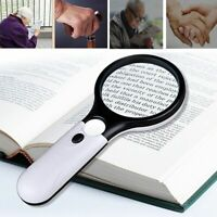 45X Handheld Magnifier Reading Magnifying Glass Jewelry Loupe With 3LED Light