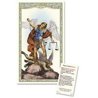 Catholic Patron Saint St Michael Laminated Holy Prayer Card, 4 3/8 Inch