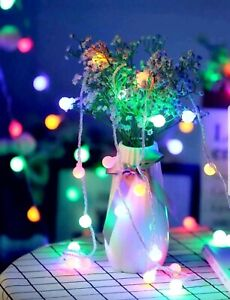 Battery Powered LED Globe Bulb Ball Fairy String Lights Indoor Party