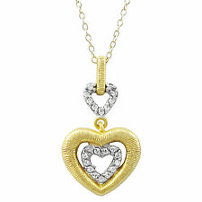 Zirconia Open Heart Pendant Necklace Sterling Silver Two-tone Finish Cubic