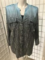 Women's Calvin Klein 1X Black Sky Blue Gradient Zebra Print Button Summer Blouse