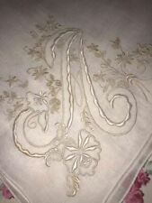 Monogrammed Vintage A Initial Madeira Handkerchief For Brides Fabulous White
