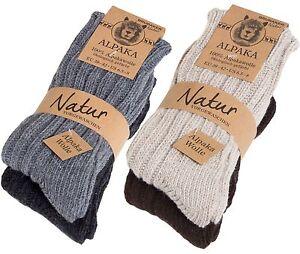 BRUBAKER Men's Women's Alpaca Wool Socks Winter Socks for Men Women 4 Pair Pack