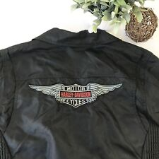 HARLEY DAVIDSON Womens Black Nylon Moto Bomber Asymmetrical Jacket Size Small