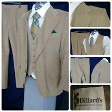 Vtg Dillards Japan 40R Jacket Vest Tan Corduroy Mens Suit 3Pc 34X31 Pants Flare