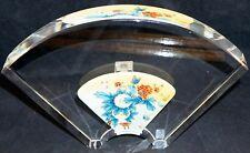 Jacarte Reverse Handpainted CRYSTAL Glass Fan Vase Fitted Box Queen Peonies #2