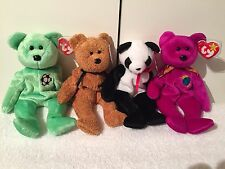 10 TY BEANIE BABY BEARS:Millennium Fuzz Peace Fortune Kicks Signature Princess+3