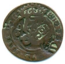 Spanien, Cu-Maravedis um 1691 mit vielen Gegenstempeln
