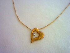 "Heart shaped 14K gold & diamond pendant necklace with 18"" fine petite box chain"