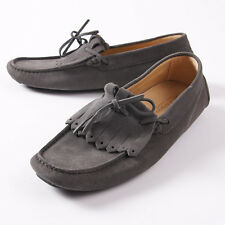 NIB $950 KITON Gray Calf Suede Kilt Driving Moccasins Loafers US 9 Shoes
