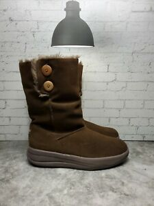 Skechers Tone-Ups Boots Brown Suede Leather Faux Fur Winter Women Size 10 38710