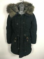 WOMENS KHUJO NAVY BLUE FAUX FUR HOODED FITTED ZIP UP GATHERED PARKA COAT SMALL