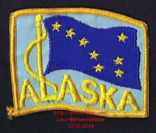 Lmh Patch Badge Alaska State Flag Waving Ak 8 Stars on Blue Alaskan 3-5/8""