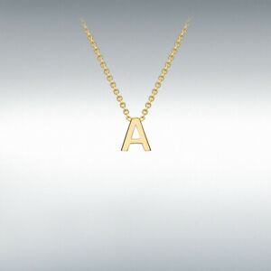 Genuine 9ct Yellow Gold 4mm X 4.5mm Initial / Alphabet Necklace 15 to 17 inches