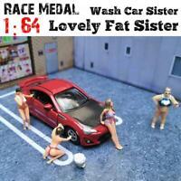 1:64 Race Medal Figures Wash Car Lovely Fat Sister Model For TOMY Matchbox Siku