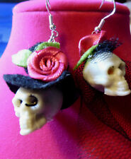 925 Earrings Halloween Handcrafted Nora's Usa Day of the Dead Bride & Groom