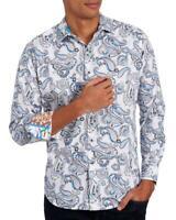 Robert Graham Paisley Atlantic White Long Sleeve Sport Shirt Mens Small $198