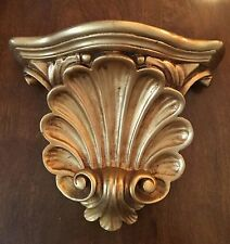 Gold wall shelf sconce with shell motif.  Hollywood regency. Plaster/antiqued.