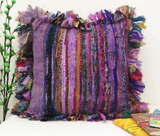 "16X16"" HANDMADE RUG RAG VINTAGE INDIAN MULTI PILLOW CHINDI COTTON CUSHION COVER"