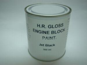1 x 500ml Jet Black Gloss Heat Resistant To 200c Engine Caliper Enamel Paint