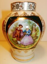 Bavaria Fragonard LOVE STORY-Courting Couple Gilded Vase~4 Panels-signed