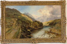 JOHN SYER 1815-1885 BRITISH  FIGURES HERDING SHEEP DRAMATIC PANORAMIC LANDSCAPE