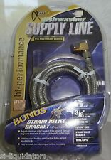 "Universal  6 Ft. ""Stainless Steel"" DISHWASHER INSTALL KIT- SUPPLY LINE, HOSE"