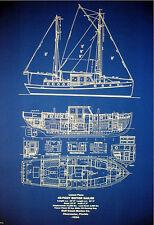 Florida Yacht MotorSailor Vessel 42 footer 1934  Blueprint Plans 24x32 (126)