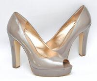New BCBG Generation JAXX Peep Toe Platform Pump Heel Patent Shoe Khaki Gray 9.5