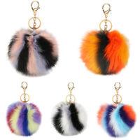 Multi-Color Faux Fur Pompom Ball Pendant Fluffy Charm Handbag Key Chain Keyrings