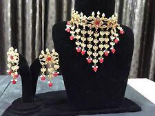 Kundan Jewellery Indian Wedding Bridal Redish Red Choker Hyderabadi Jewelry Set-