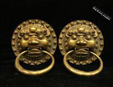 20CM China old Brass antique Bronze Animal Lion knocker AQQY