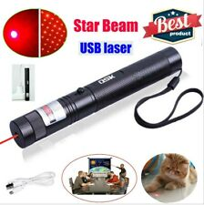 500Miles 650nm Red Laser Pointer Star Beam Lazer Pen Usb Rechargeable with Batt