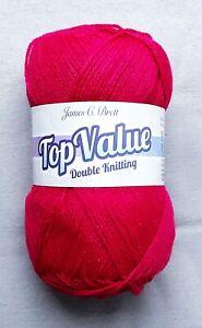 James C Brett TOP VALUE DK Yarn 100g ball