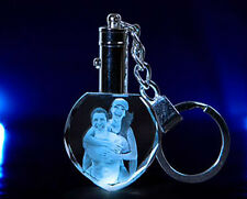 Personalized Photo Picture Laser Engraved  Crystal Key Heart Chain LED Light