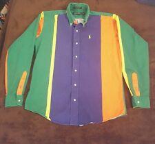 Vintage 90's Ralph Lauren Polo Color Block Button  Long Sleeve Shirt Orange XL