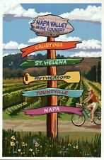 Napa Valley Wine Country California Destination Signpost CA etc. Modern Postcard