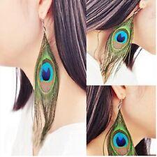 Fashion Women Charm Peacock Feather Ear Stud Cute Ear Clip Tassel Earrings