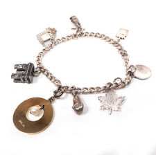 """Vintage Silver Bracelet w/ Sterling Silver Mixed Charms 6.75"""""""