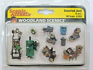 """HO SCALE WOODLAND SCENICS #A1852 """"ASSORTED JUNK"""". NEW"""