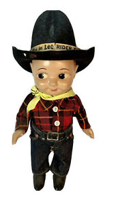 Vintage Buddy Lee Cowboy Doll Original Outfit Jeans Advertising Union Made 1950s