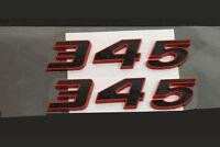 2x OEM 345 Emblem Badge 3D decal  for Dodge Challenger Chrysle  Y Red Frame