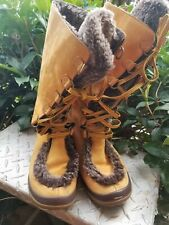 Timberland 84387 Wheat Leather Faux Fur Mid Calf Lace Up Boots 8.5M