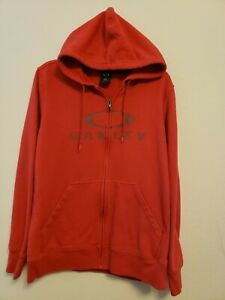 Oakley Men Full Zip Hoodie Large Red EUC