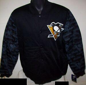 PITTSBURGH PENGUINS STARTER Varsity Jacket Penguin Logo Sleeves L  2X  BLACK
